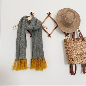 Grey and Mustard Yellow Scarf